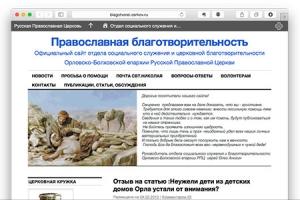 Открылся сайт отдела социального служения и церковной благотворительности Орловской епархии