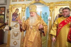 Архипастырь совершил всенощное бдение в храме преподобного Сергия Радонежского на Наугорском шоссе