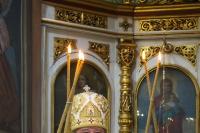 ВВеликую Субботу митрополит Орловский иБолховский Тихон совершил  Божественную литургию вСвято-Троицком храме Орла. 27 апреля 2019 г.
