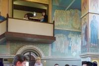 Вканун Недели 5-й поПасхе митрополит Орловский иБолховский Тихон возглавил всенощное бдение вСвято-Никольском храме поселка Хотынец. 26 мая 2019 г.