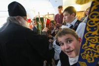 Митрополит Орловский и Болховский Тихон посетил гимназию-пансион во имя преподобного Сергия Радонежского в Болхове. 3 мая 2019 г.