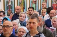 ВНеделю 10-ю поПятидесятнице митрополит Орловский иБолховский Тихон совершил Божественную литургию вхраме святой блаженной Матроны Московской вСеверном районе Орла. 25 августа 2019 г.