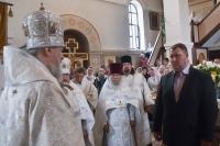 В Неделю 7-ю по Пасхе Высокопреосвященнейший архиепископ Орловский и Ливенский Антоний совершил Божественную литургию в Свято-Никольском храме п. Хотынец. 16 июня 2013 г.