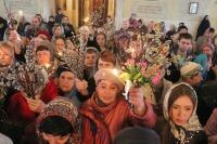 В канун праздника Входа Господня в Иерусалим архиепископ Антоний совершил всенощное бдение в Богоявленском соборе г. Орла. 12 апреля 2014 г.