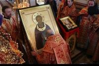 В Орел доставлена икона преподобного Сергия Радонежского, написанная в Троице-Сергиевой лавре, с частицей его мощей. 4 мая 2014 г.