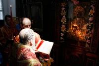 В 9-ю пятницу по Пасхе митрополит Орловский и Болховский Антоний совершил Пасхальным чином Божественную литургию в Свято-Никольском храме поселка Кромы. 1 июля 2016 г.