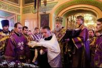 В неделю 4-ю Великого поста архиепископ Орловский и Ливенский Антоний совершил Божественную литургию в Свято-Сергиевском кафедральном соборе г. Ливны. 30 марта 2014 г.