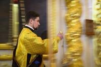 Накануне празднования Собора вселенских учителей и святителей митрополит Орловский и Болховский Тихон возглавил всенощное бдение в Ахтырском соборе. 11 февраля 2020 г.