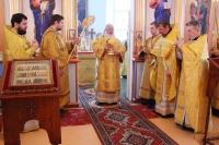 ВНеделю мясопустную, оСтрашном Суде, митрополит Орловский иБолховский Тихон совершил Божественную литургию вСпасо-Преображенском соборе Болхова. 23 февраля 2020 г.