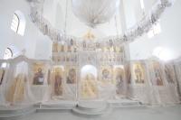 В день памяти святой блаженной Ксении Петербургской митрополит Орловский и Болховский Тихон совершил Божественную литургию во временном храме преподобного Сергия Радонежского в храмовом комплексе при Академии ФСО. 6 февраля 2020 г.