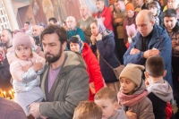 ВНеделю 2-ю Великого поста митрополит Орловский иБолховский Тихон совершил литургию вСвято-Троицком храме города Мценска. 15 марта 2020 г.