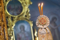 В праздник Вознесения Господня митрополит Орловский и Болховский Тихон совершил Литургию в Богоявленском соборе Орла. 28 мая 2020 г.