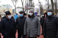 Митрополит Орловский и Болховский Тихон участвовал в открытии сквера Комсомольцев в Орле после благоустройства. 4 декабря 2020 г.