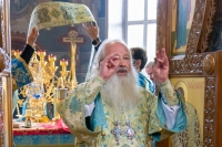 Митрополит Орловский и Болховский Тихон в праздник Успения Пресвятой Владычицы нашей Богородицы и Приснодевы Марии, совершил Божественную литургию в Свято-Успенском мужском монастыре города Орла. 28 августа 2021 г.